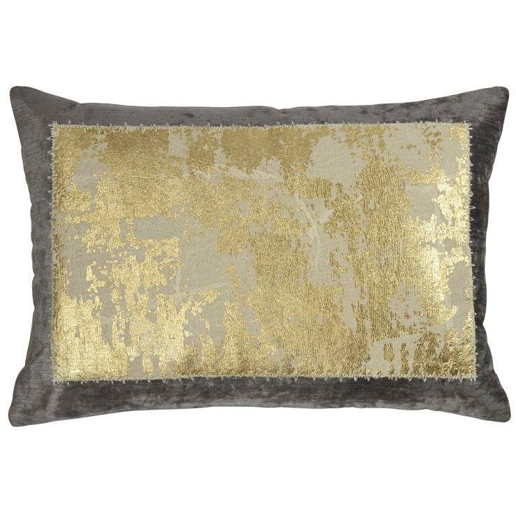 Michael Aram Distressed Metallic Lace Pillow Pearl Gray & Gold 2M00770XGY