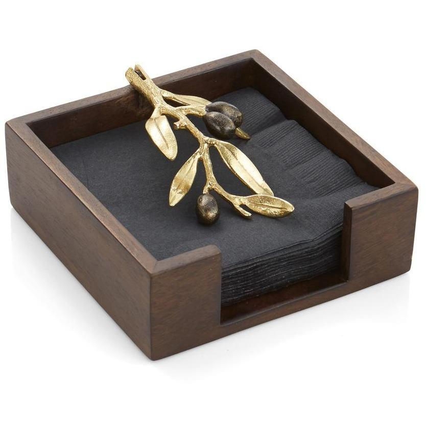 Michael Aram Olive Branch Gold Cocktail Napkin Holder 175209
