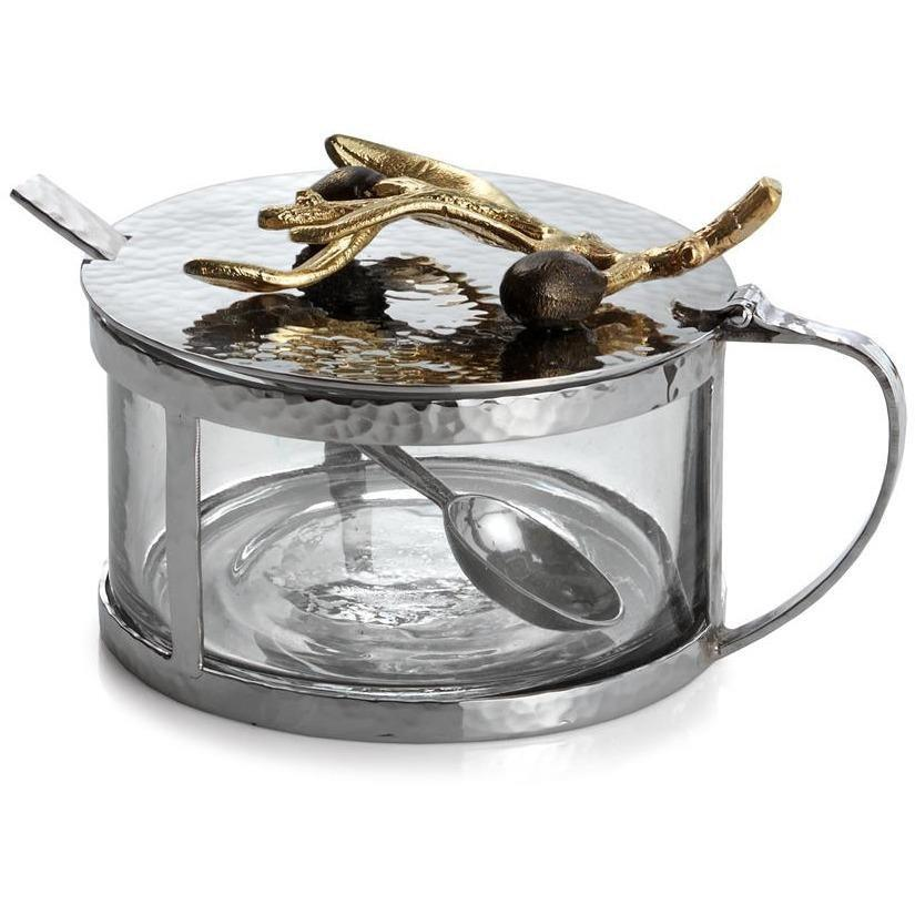 Michael Aram Olive Branch Gold Condiment Container & Spoon 175206