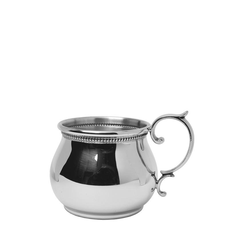 Salisbury Pewter Bulged Scroll Handled Baby Cup with Beading SCBS-B