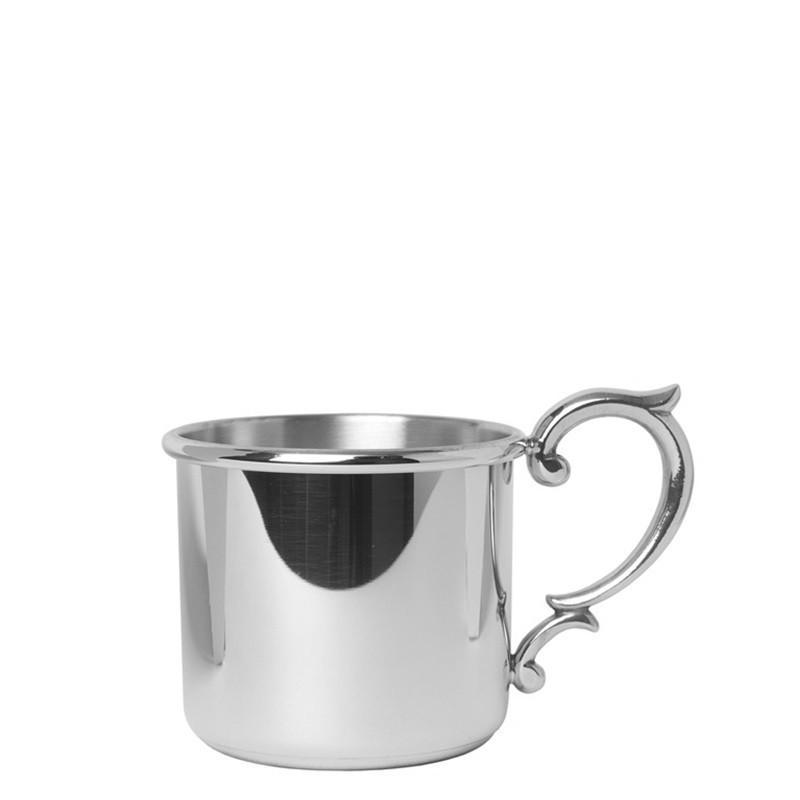 Salisbury Pewter Straight Edge Baby Cup with Scroll Handle 5 oz SCSE-S