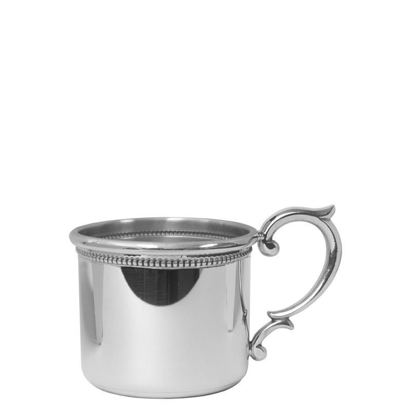 Salisbury Pewter Straight Edge Baby Cup with Scroll Handle and Beading - 5 oz SCSES-B