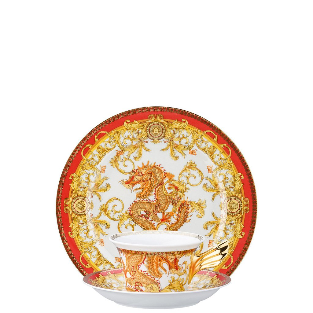 Versace 25 Years Asian Dream Tea Cup Tea Saucer & Dessert Plate Set 3 pieces 19300-403632-28604