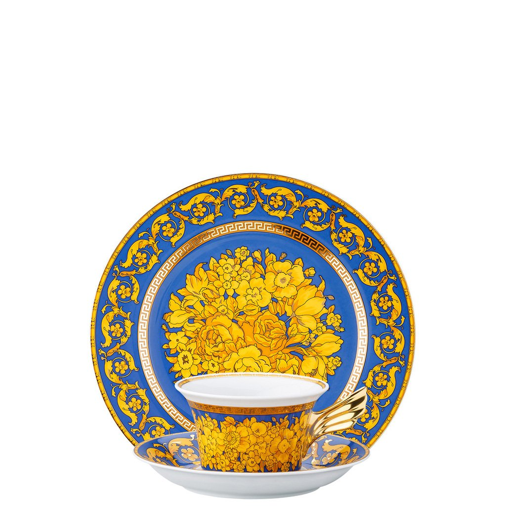 Versace 25 Years Floralia Blue Tea Cup Tea Saucer & Dessert Plate Set 3 pieces 19300-409976-28604
