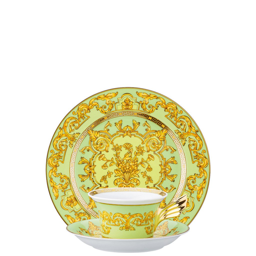 Versace 25 Years Green Floralia Tea Cup Tea Saucer & Dessert Plate Set 3 pieces 19300-409979-28604