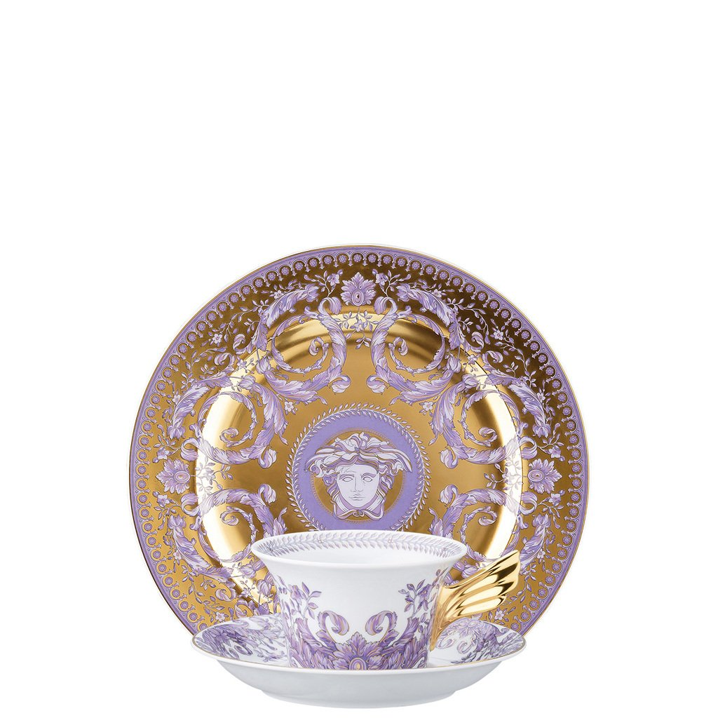 Versace 25 Years Le Grand Divertissement Gold Tea Cup Tea Saucer & Dessert Plate Set 3 pieces 19300-403626-28604