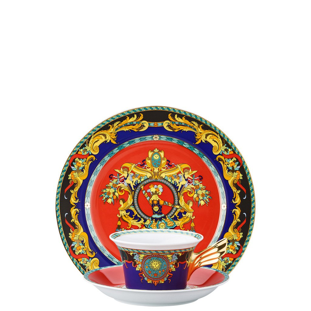Versace 25 Years Le Roi Soleil Tea Cup Tea Saucer & Dessert Plate Set 3 pieces 19300-406636-28604