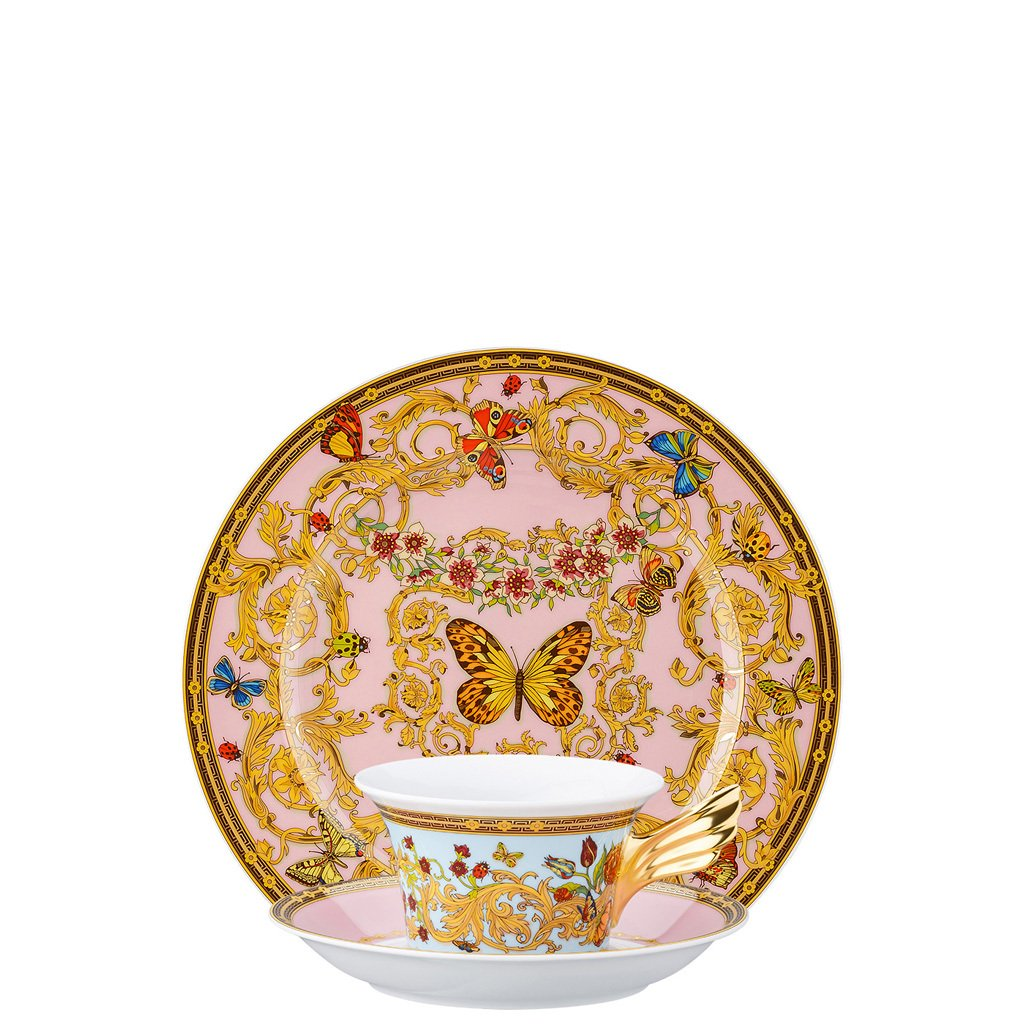 Versace Butterfly Garden 25 Years Tea Cup Tea Saucer & Dessert Plate Set 3 pieces 19300-409609-28604