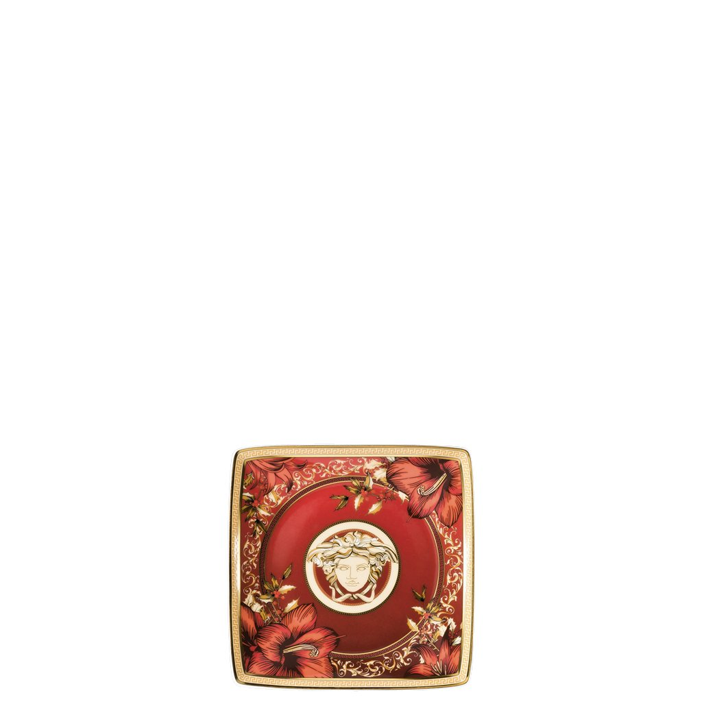 Versace Christmas Blooms Canape Dish square 4.75 inch 11940-409944-15253