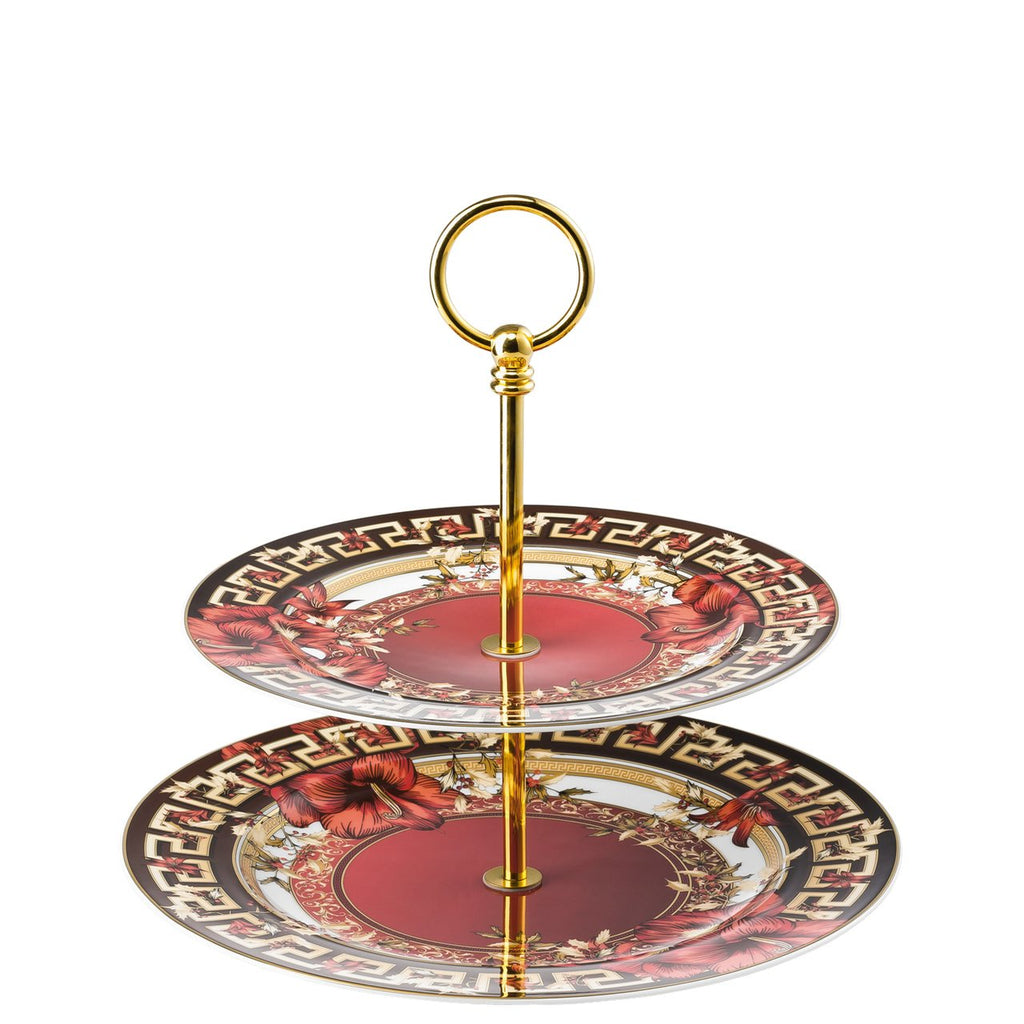 Versace Christmas Blooms Etagere 2 tiers 8.5 x 10.5 inch 19300-409944-25310