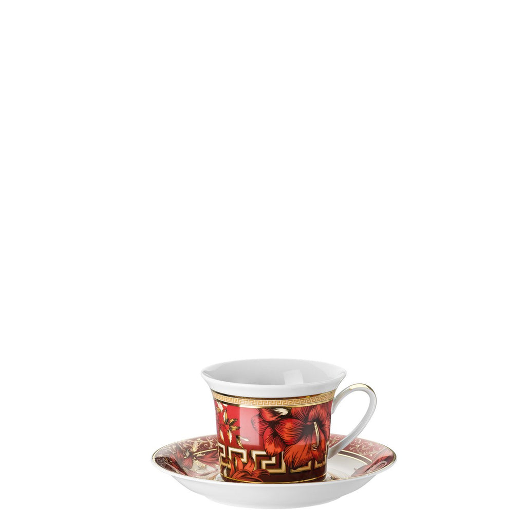 Versace Christmas Blooms Cappuccino Cup and Saucer 8 ounce 19315-409944-14765