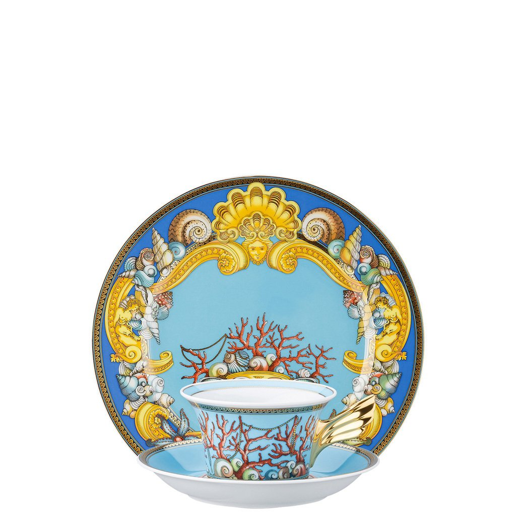 Versace La Mer 25 Years Tea Cup Tea Saucer & Dessert Plate Set 3 pieces 19300-409608-28604