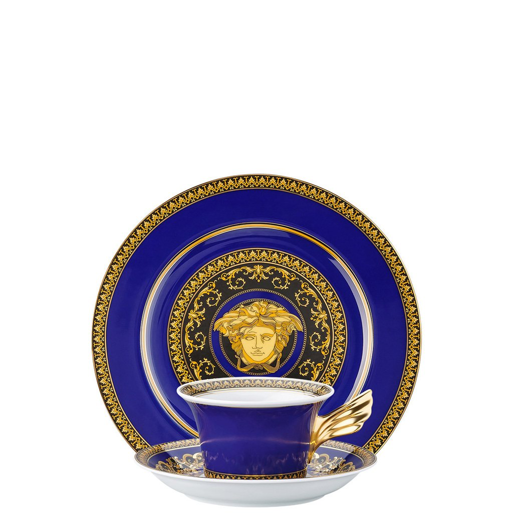 Versace Medusa Blue 25 Years Tea Cup Tea Saucer & Dessert Plate Set 3 pieces 19300-409620-28604