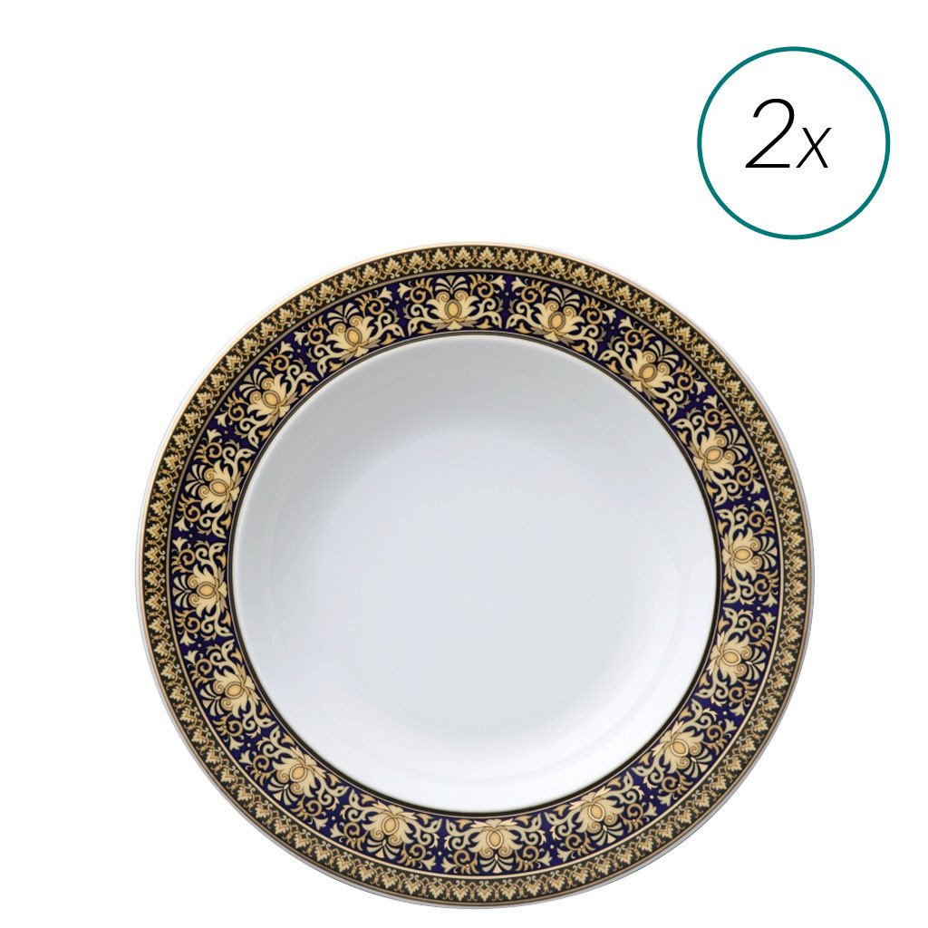 Versace Medusa Blue Soup Plates Set 2 pieces 8.5 inch 19325-409620-10002