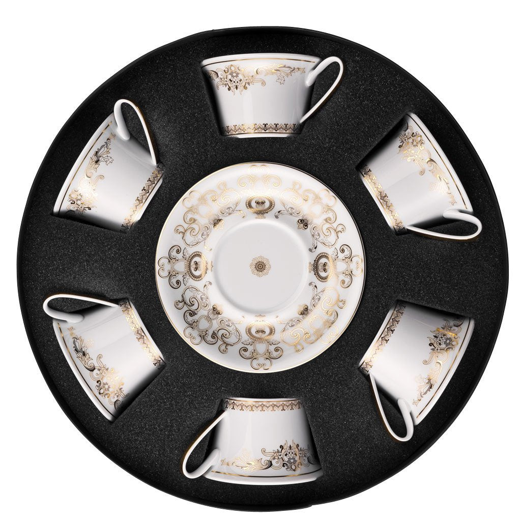 Versace Medusa Gala Set Of 6 Low Cup Tea Cups & Saucers Round Hat Box 19325-403635-29253