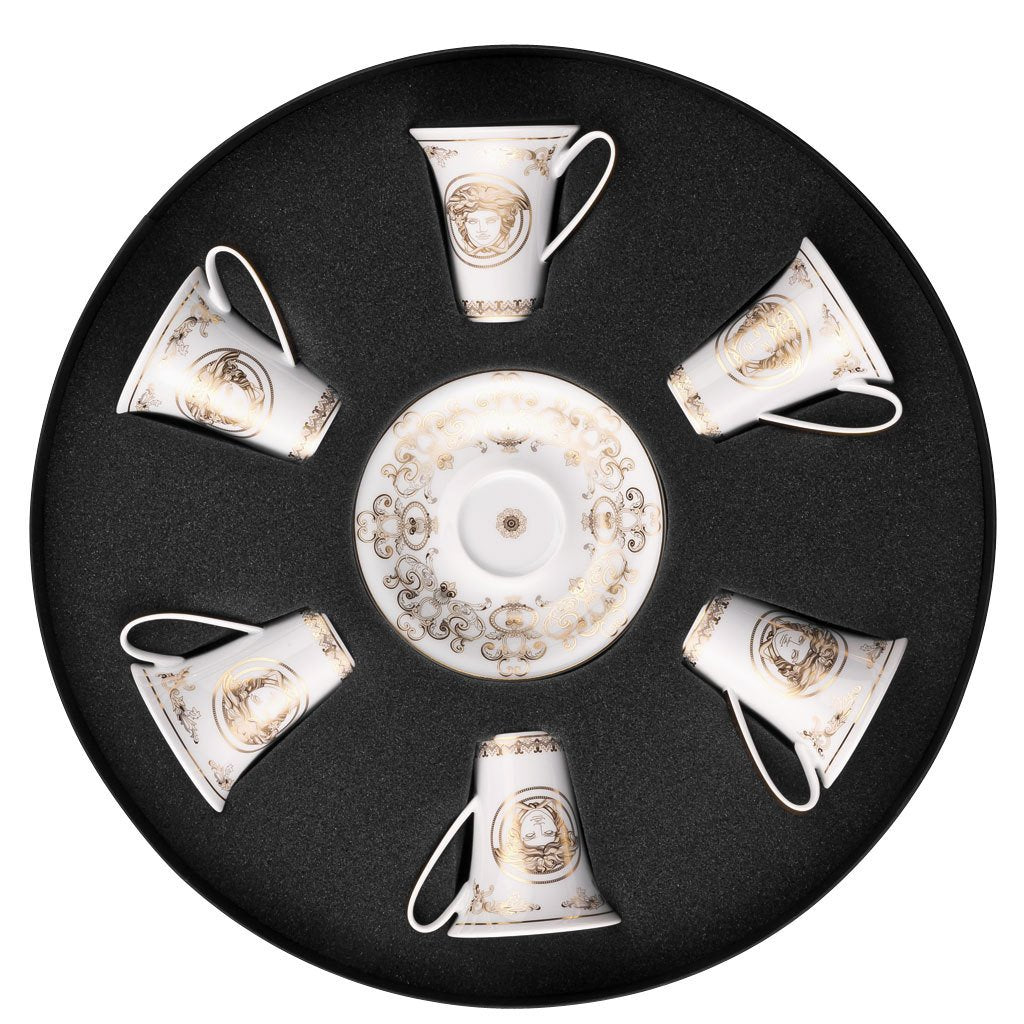 Versace Medusa Gala Set of 6 Espresso Cup & Saucers Round Hat Box 19325-403635-29254
