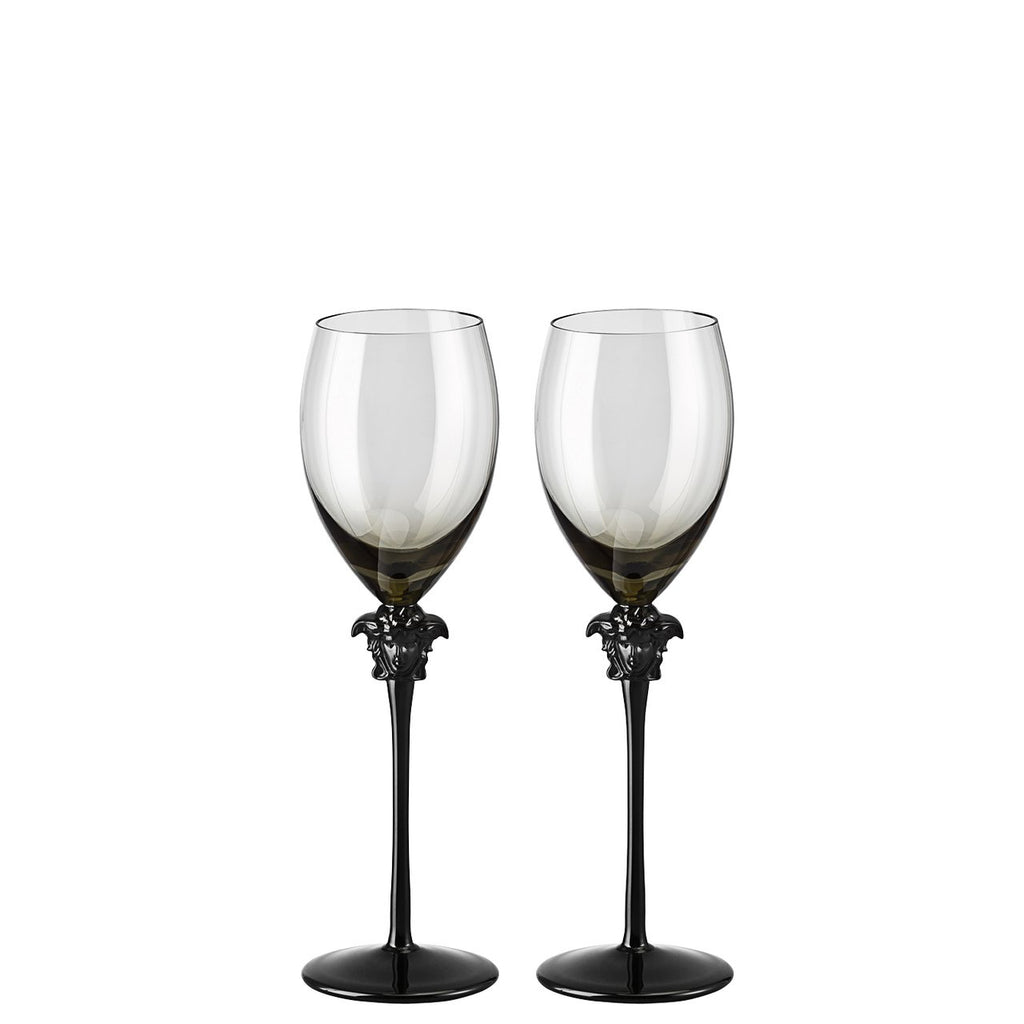 Versace Medusa Lumiere Haze White Wine Glass set of two 11 ounce 20665-321392-48806