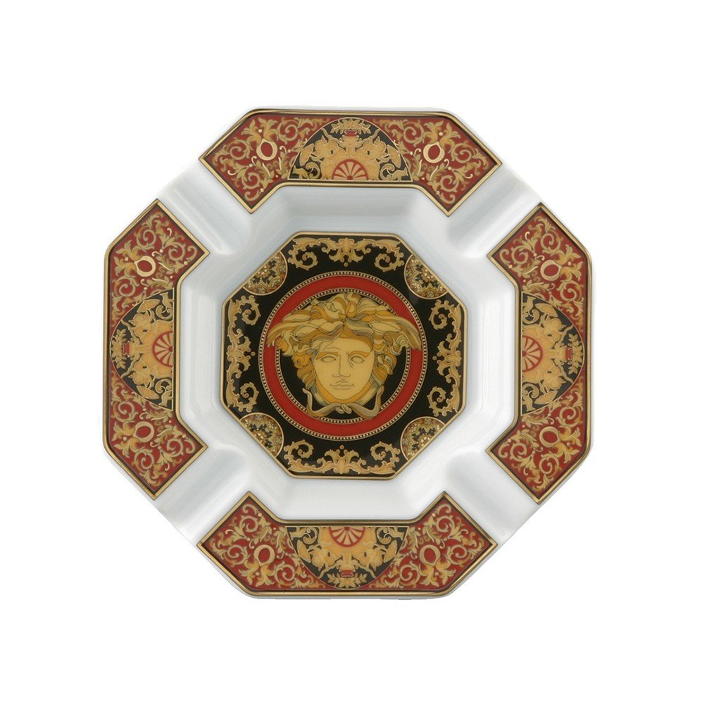 Versace Medusa Red Ashtray Porcelain 5.5 inch 14096-102721-27233