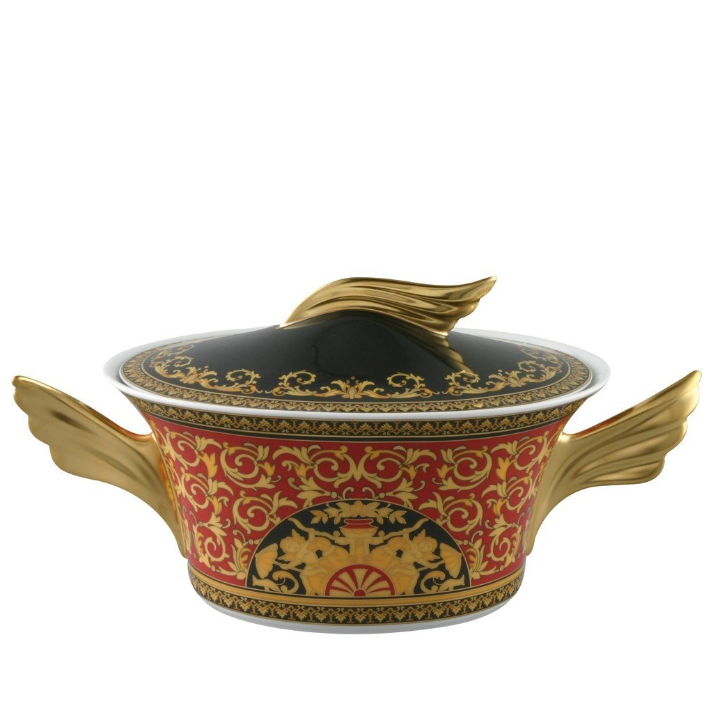Versace Medusa Red Vegetable Bowl Covered 54 ounce 19300-409605-11320