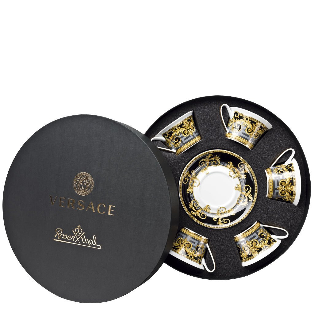Versace Prestige Gala Six Low Cups Tea Cups & Saucers Round Hat Box 19325-403637-29253