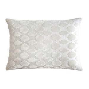 Kevin O'Brien Mod Fretwork Lumbar Velvet 18 x 12 Pillow White Color