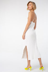 Lucille Midi Rib Dress | White