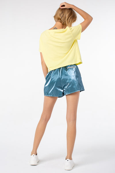 Lily Shorts | Metal Turquoise