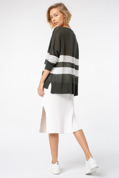 Bliss Stripe Cardigan | Olive