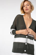 Load image into Gallery viewer, Bliss Stripe Cardigan | Olive