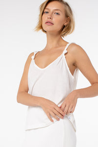 Poppy Knotted Tank | White