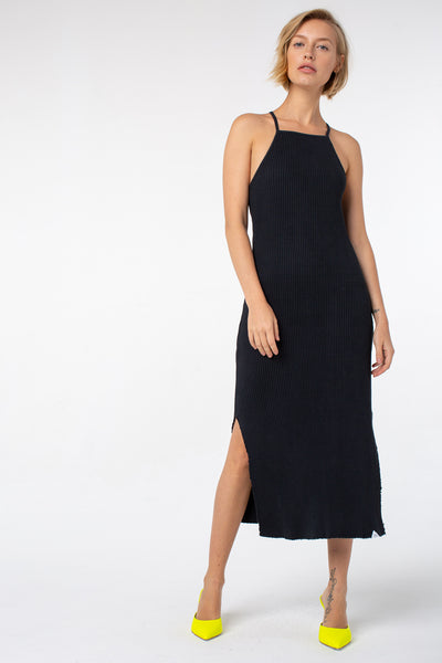 Lucille Midi Rib Dress | Vintage Black