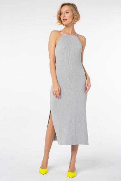 Lucille Midi Rib Dress | Heather Gray