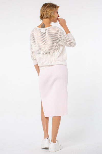 Grace Cropped Sweater | White