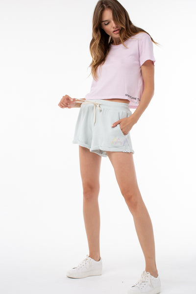Willow Roll Up Sweat Short | Ice Blue