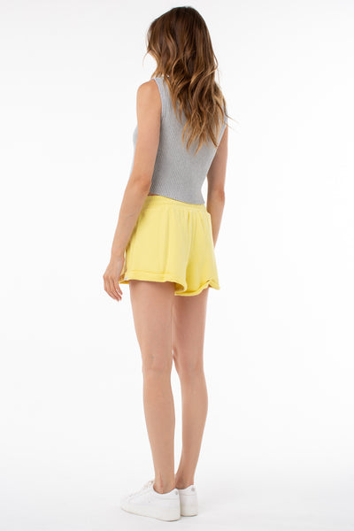 Willow Roll Up Sweat Short | Lemon