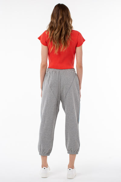 Issa Perfect Sweatpant | Heather Gray with Denim
