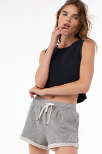 Willow Roll Up Sweat Short | Heather Gray