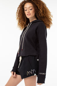 Willow Roll Up Sweat Short | Vintage Black