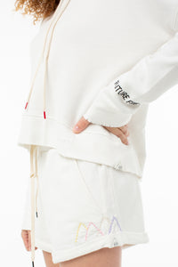 Willow Roll Up Sweat Short | White