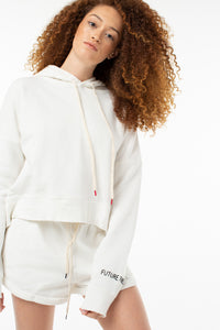 Beatrice Cropped Pull Over | White