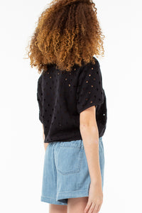 Eleanor Cropped Pull Over | Vintage Black