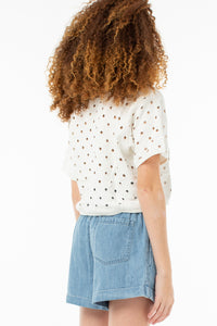 Eleanor Cropped Pull Over | White