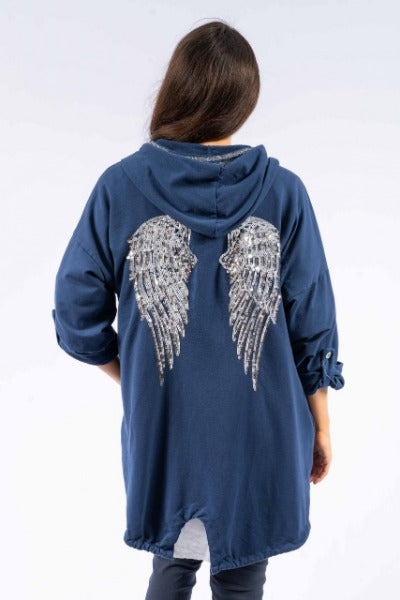 ALI JERSEY NAVY W/SILVER SEQUIN ANGEL WINGS | HOODIE