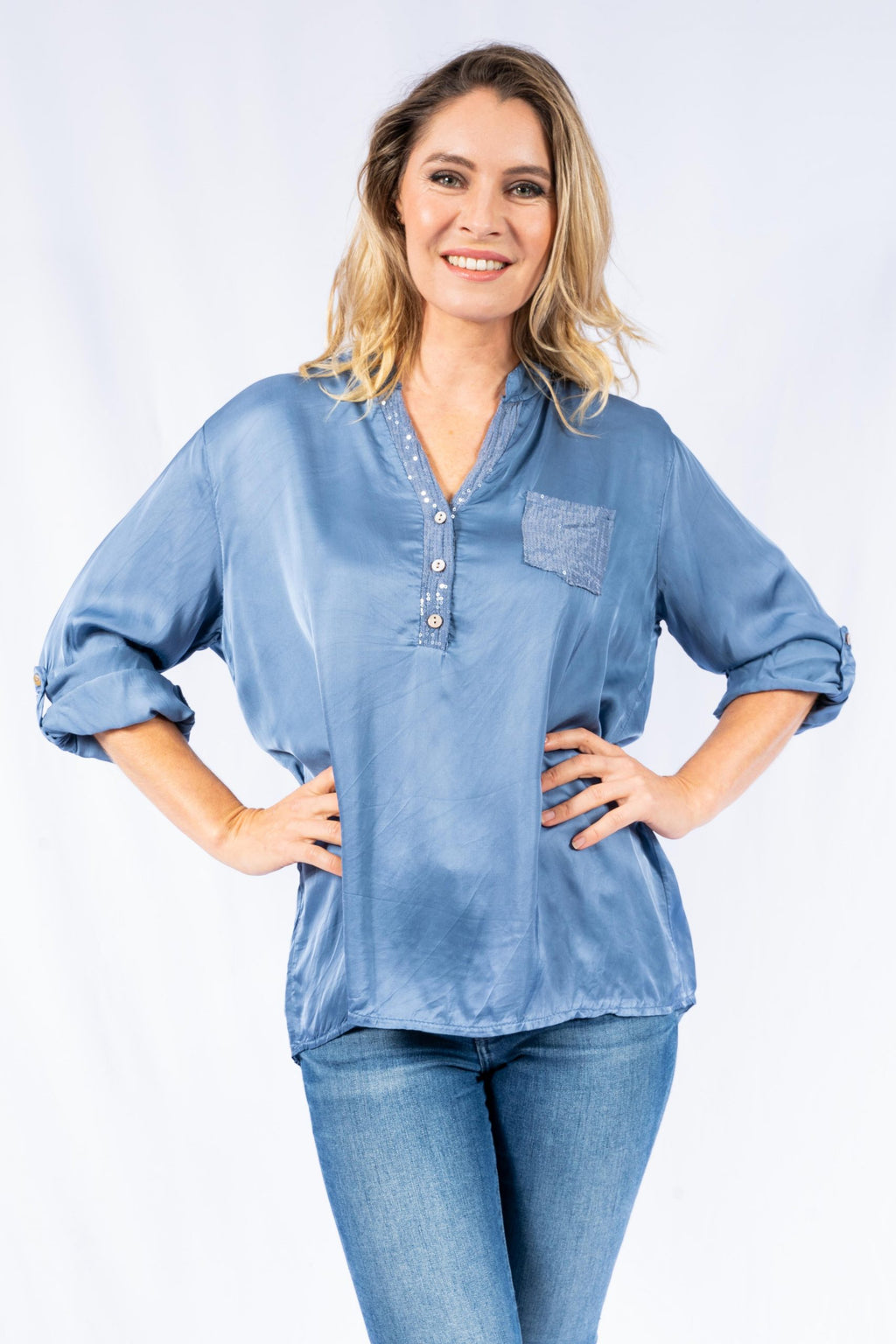 RUBINI DENIM COLLAR  & POCKET SEQUIN | SHIRT