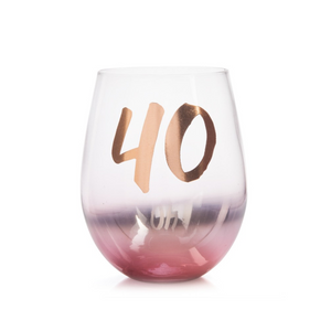 40TH BIRTHDAY STEMLESS GLASS