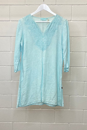 BABY BLUE LINEN TUNIC SIZE S | BLOUSE (Preloved)