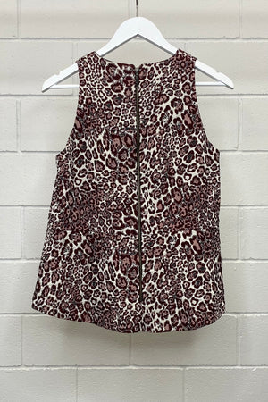 BROWN AND GREY LEOPARD PRINT SIZE 12 | TOP (Preloved)