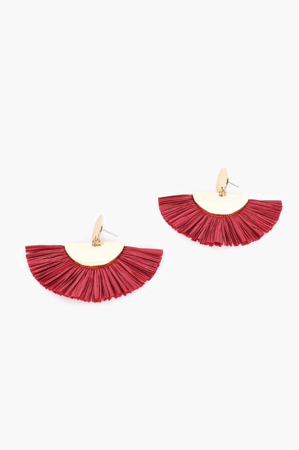 BOBBI RAFFIA FRINGE (BERRY) | Earrings