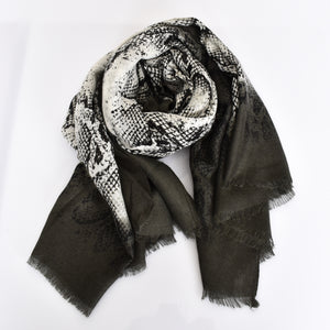 Bordered Reptile Print Lightweight Scarf - Monochrome
