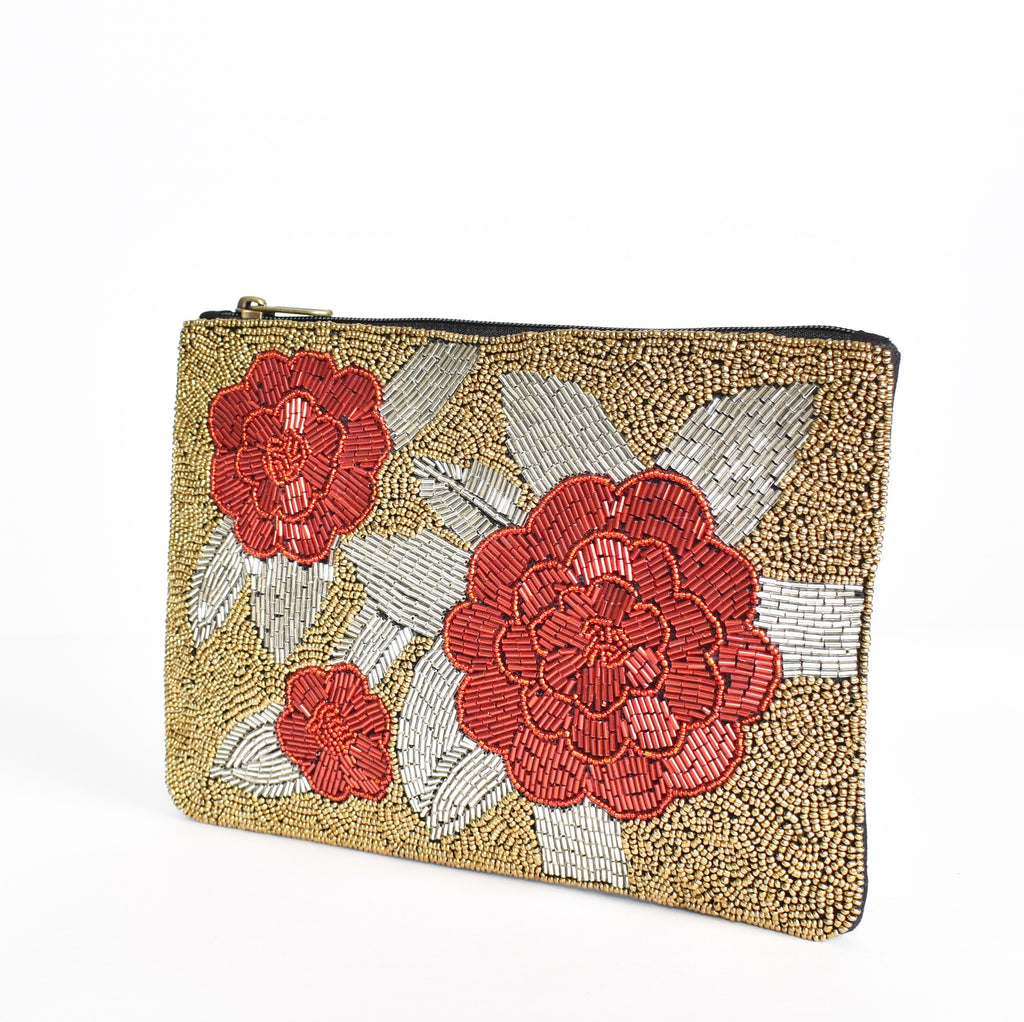 GABI BEADED BOUQUET (RED/SILVER) | CLUTCH